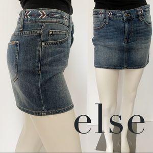 Else Light Wash Boho Denim Arrow Embroidered Skirt